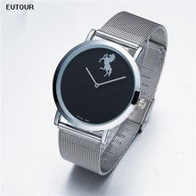 EUTOUR Men Watches Slim 7.5mm Quartz Wristwatch Mens Fashion Man Watch 2017 Horse Marble Waterproof Simple Black Male Clock