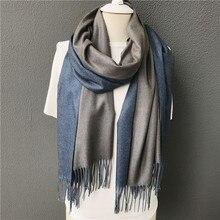 Новинка, зимний мужской шарф, горячее предложение, Одноцветный двухсторонний мягкий кашемировый шарф, шали и палантины, бандана, женский шарф с кисточками