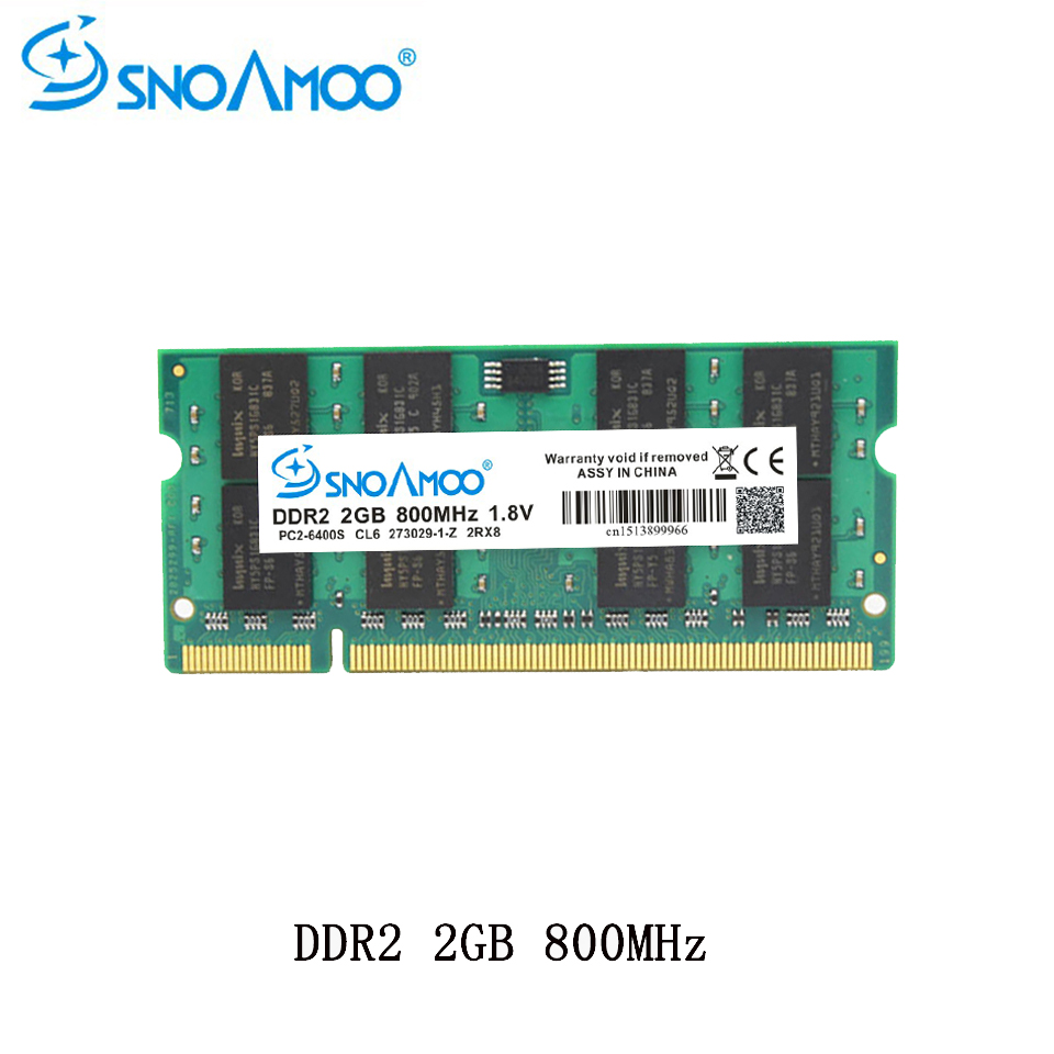 SNOAMOO Laptop RAMs DDR2 1GB 2GB 4GB 667MHz PC2-5300S 800MHz PC2-6400S 200Pin CL5 CL6 1.8V 2Rx8 SO-DIMM Computer Memory Warranty