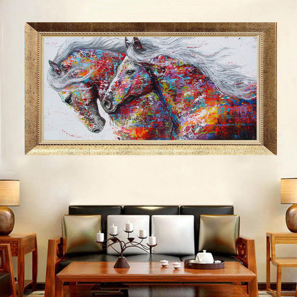 5D Diy Diamond Painting Cross Stitch Kits Full Resin Mosaic Diamond Embroidery Color Horse Animal Pattern Hobbies Crafts Decor