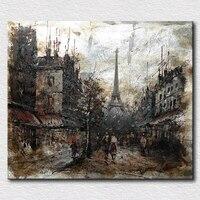 Francia ciudad de parís pintura al óleo moderna regalo único para los amigos abstracto paisaje pared pinturas para el dormitorio
