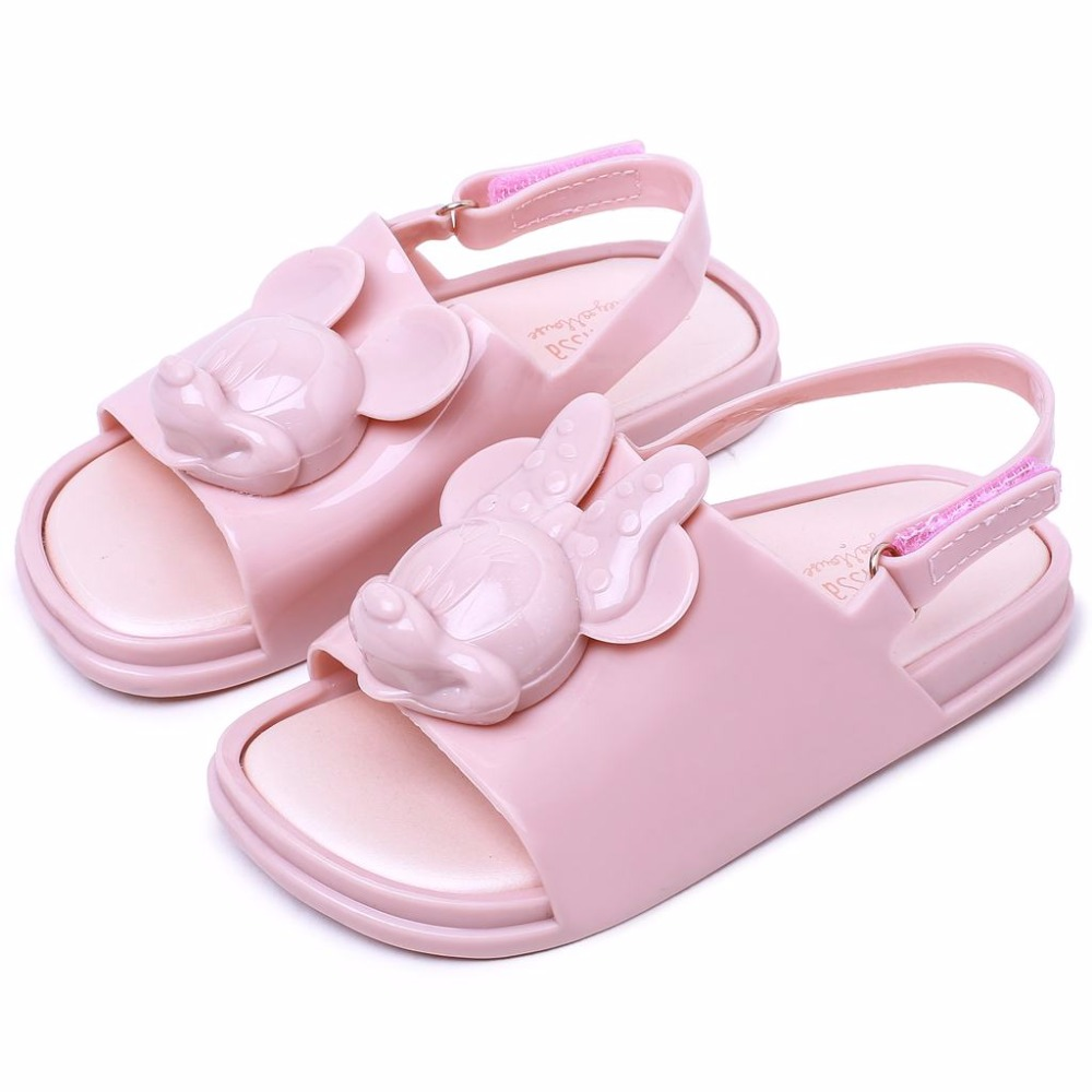 Mini Melissa 2018 New Summer Beach Shoes Mickey Head New Girls Sandals and Boys Sandals Jelly Fish Mouth Girl Kids Sandal