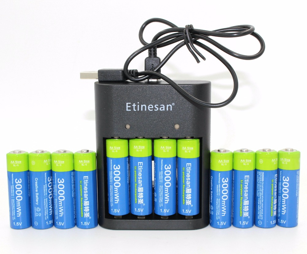 12 New Etinesan 3000mWh 1.5V AA Lithium Li-polymer Rechargeable Battery+1.5v  AA AAA li-ion Batteries Charger Free shipping