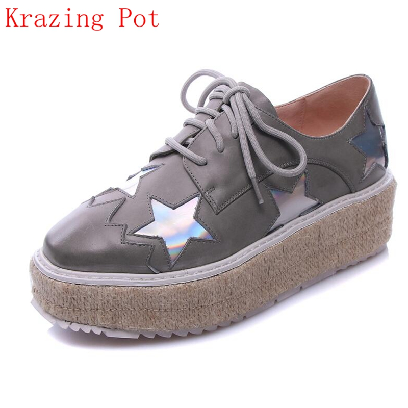 Fashion Genuine Leather Superstar Brand Shoes Star Increased Platform Flats Square Toe Elegant Lace Up Woman Casual Shoes L29 qmn women genuine leather platform flats women lace cut glossy leather square toe brogue shoes woman lace up leisure shoes 34 39
