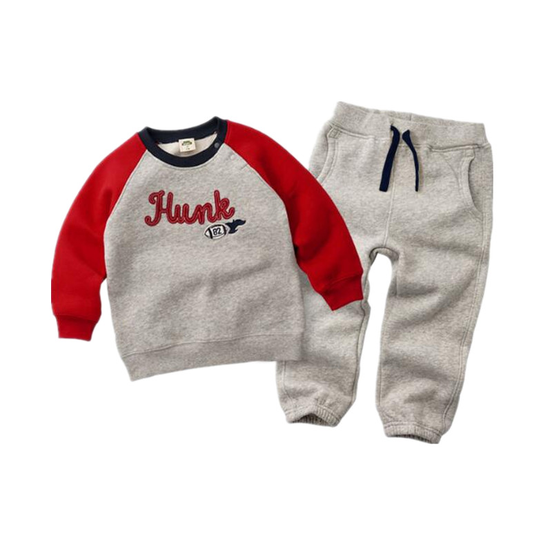 2018 Winter Autumn Kids Thicken Sets Baby Boys Girls Plus Velvet Hoddies Coat + Pants Traje de 2 piezas Algodón Ropa para niños para niños