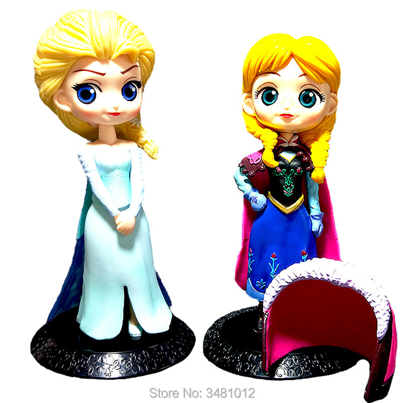 6'' Snow Queen Elsa Anna Q Posket Model Statue PVC Action Figures Princess Anime Dolls Figurines Kids Toys for Children Girls bw hd 720p wifi ip camera onvif surveillance cam wireless security ip camera wi fi baby monitor automatic sensor alarm