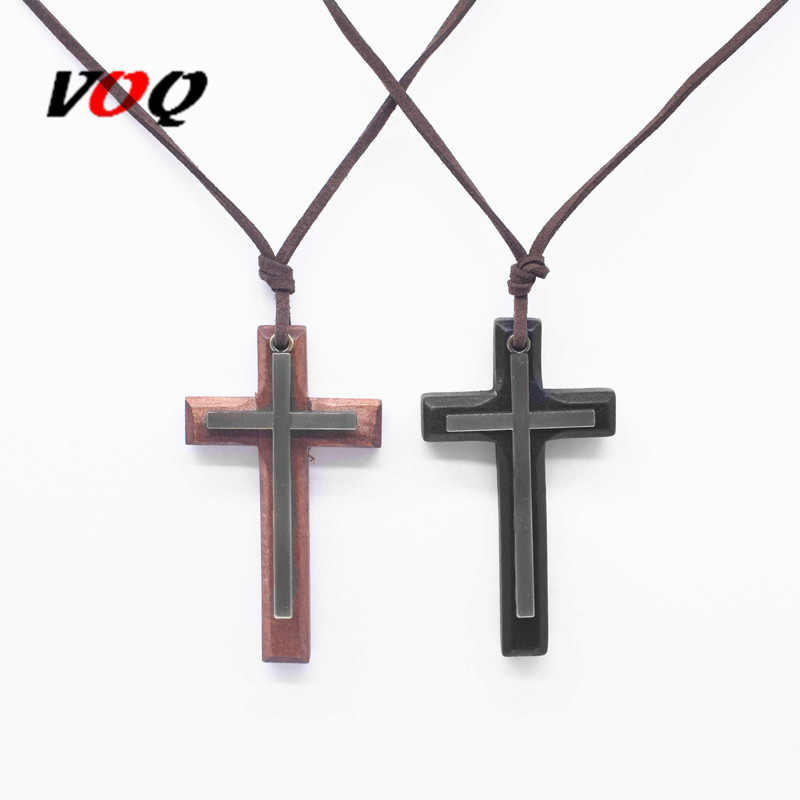New Arrival Alloy with Wooden Pendant Cross Necklace Religious Leather Rope Chain Long Necklace Women Man Jewelry Christmas Gift