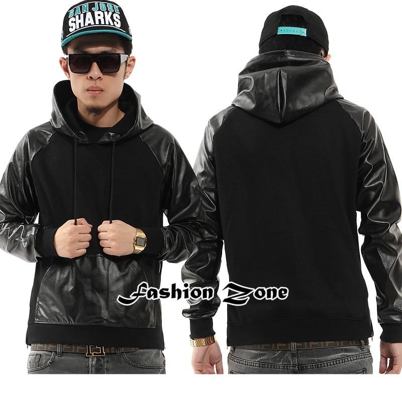 oncegala mens sweatshirt swag pullover hoodie hip hop hoodies splice side zipper mens hoodies. Black Bedroom Furniture Sets. Home Design Ideas