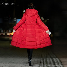 Brieuces Winter Coat Women Long Thicken Warm winter Jacket female Down Cotton Padded Jacket Outerwear hooded Parkas oversize 6XL christmas cotton padded parkas teen winter coat girl long red pink black hooded warm winter jacket for girl 6 years 8 10 12 14
