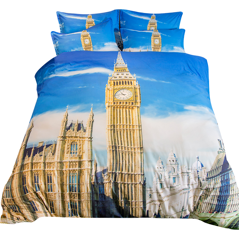 London GB <font><b>Elizabeth</b></font> Tower 3D Scenery Bedding Set Twin Queen King Size Duvet Cover Pillowcase Flat <font><b>Bed</b></font> Sheet or Fitted <font><b>Bed</b></font> Sheet