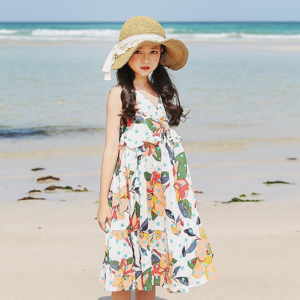 Teenage Girl Summer Dress 7 Children Clothing For Age 7 7 7 7 Years  Kids Girls Teen Flower Print Boho Beach Dresses