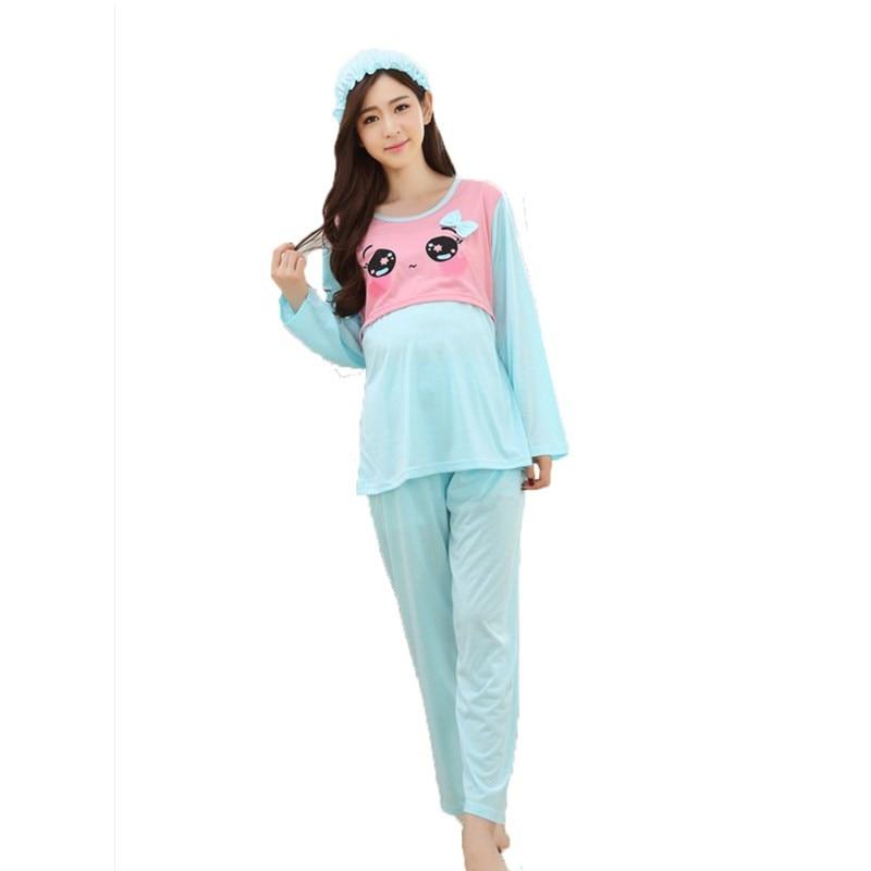2PCS/Sets Lovely Maternity Breast Feeding Pajamas Nursing Lounge Clothes for Pregnant Women Breastfeeding Sleepwear Suits B0230