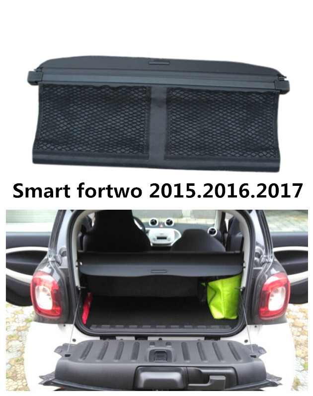 Car Rear Trunk Security Shield Cargo Cover For Smart fortwo 2015.2016.2017 High Qualit Trunk Shade Security Cover car rear trunk security shield cargo cover for hyundai tucson 2006 2014 high qualit black beige auto accessories
