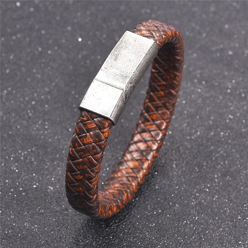 Black Blue Braided Leather Magnetic Clasp Mens Bracelet