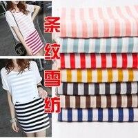 Pop Style Striped Print Chiffon Fabric DIY Sewing For Dress T Shirt Pajamas Colorful Black White