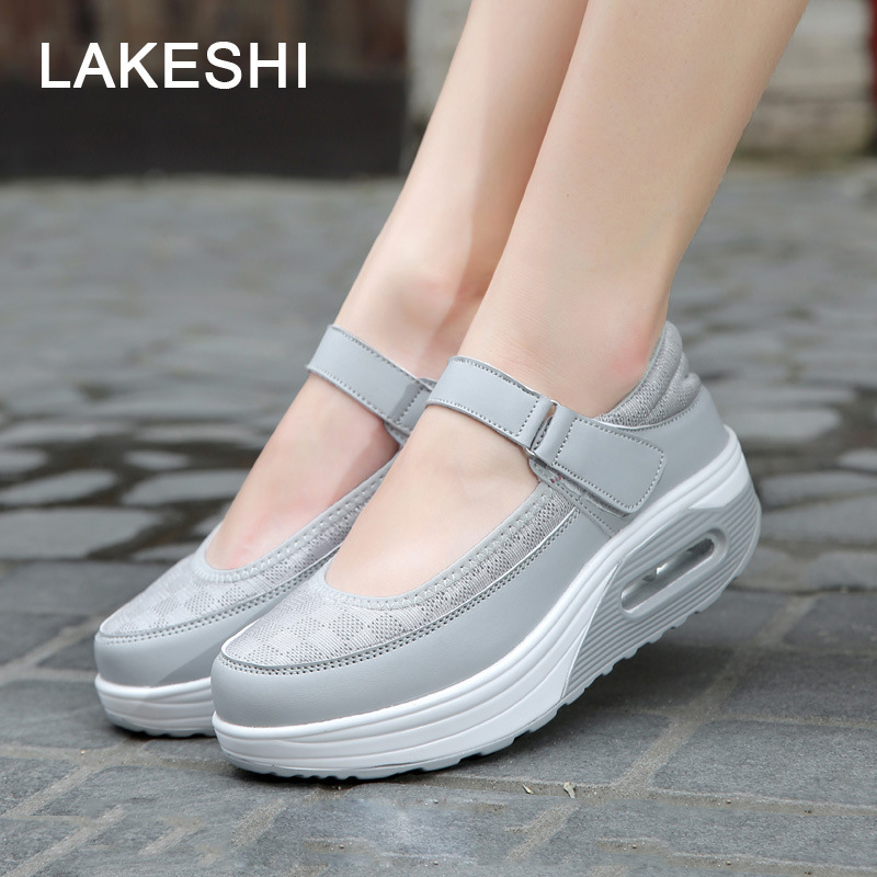 LAKESHI Summer Women Shoes Fashion Mary Jane Shoes Casual Flat Shoes White Round Toe 2018 New Breathable Shake Shoes Female breathable women hemp summer flat shoes eu 35 40 new arrival fashion outdoor style light
