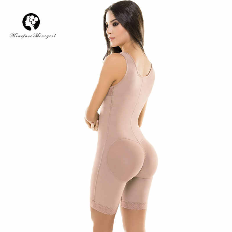 41a649f7d44 ... Women Firm Control Open Bust Full Body Shaper Plus Size Waist Tranier  Shapewear Postpartum Slimming Bodysuit ...