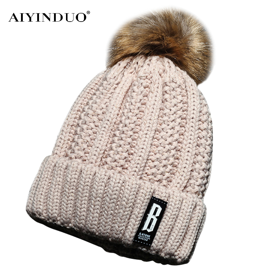 Skullies Beanies Winter Woman Fashion Knitting Hats with pompom Beanies Girls Warm Letter B Cap skullies