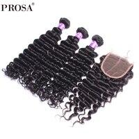 3 глубокая волна Связки с закрытием 4X4 бразильские пучки волос плетение Дело Реми Природы Цвет прошва продукты волос 4 шт.