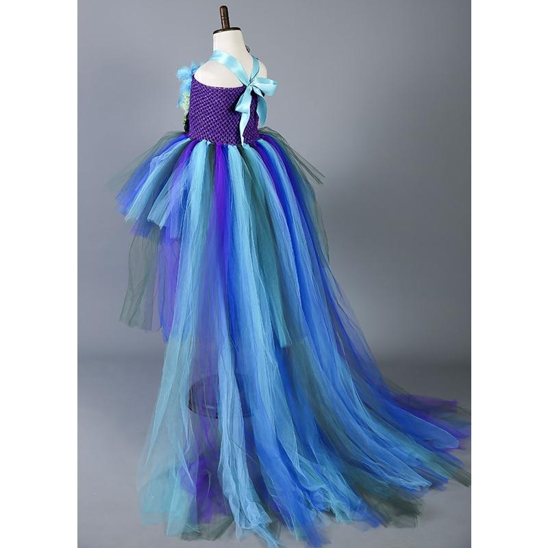 Boutique plume fleur fille robe de soirée robes de mode Train paon filles robes d'anniversaire enfants vêtements de noël W049 - 4