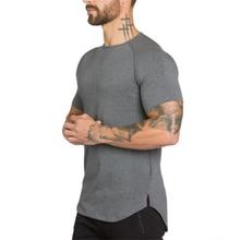 Брендовая хлопковая рубашка тренажерный зал Спортивная футболка Для мужчин короткий рукав Rashgard бег футболка тренировки футболки Фитнес Топ Спортивная футболка