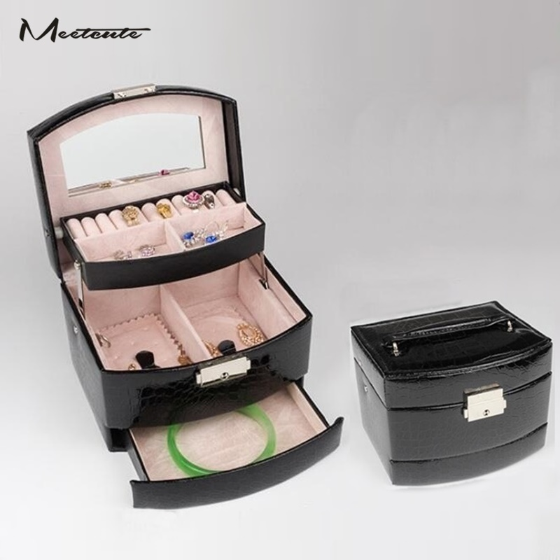 Meetcute Leather 3 Layer Jewelry Packaging Box Casket For Exquisite Makeup Carrying Case Jewelry Organizer Storage Container Box