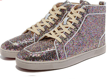 Free Drop Ship Men Women Colorful Glitter Genuine Leather Gold Line Fashion Red  Bottom Sneakers d2df1a9b4348