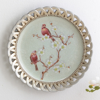 European pastoral resin hand painted birds and flowers decorative plates home wall decoration accessories plate wall hanging