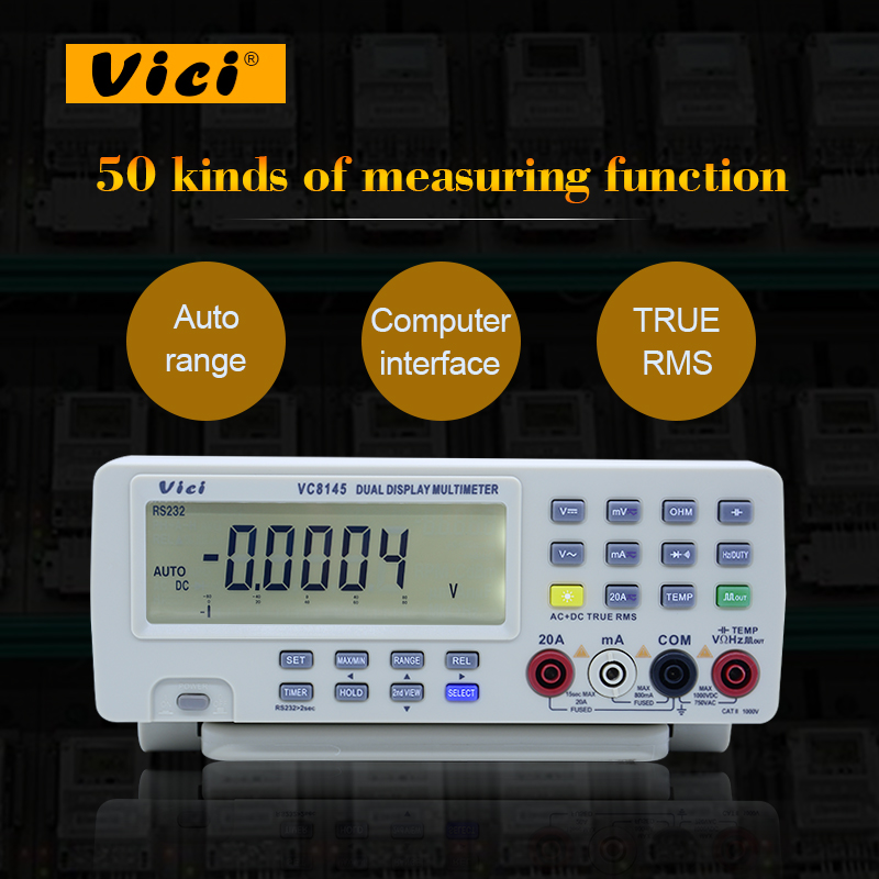 Digital Bench Multimeter Vici VC8145 DHL/EMS Ship 1pc DMM Temperature Meter Tester PC Analog 80000 counts Analog Bar Graph dhl ems 1pc used yaskawa sgmah 01aaa41 a2