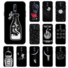 Fashion 3D DIY Painted Black Case For Nokia 7.1 Plus 7 9 3 Cases Space Moon Astronaut Cover On for PureView Bumper Funda