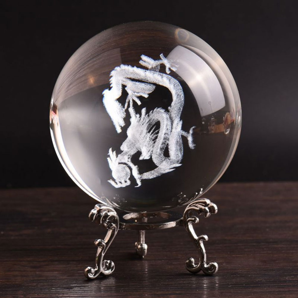 Statues & Sculptures 80mm Glass Ball 3d Laser Engraved Dragon Crystal Ball Feng Shui Globe Home Decoration Accessories Glazen Bol Miniatures Gifts