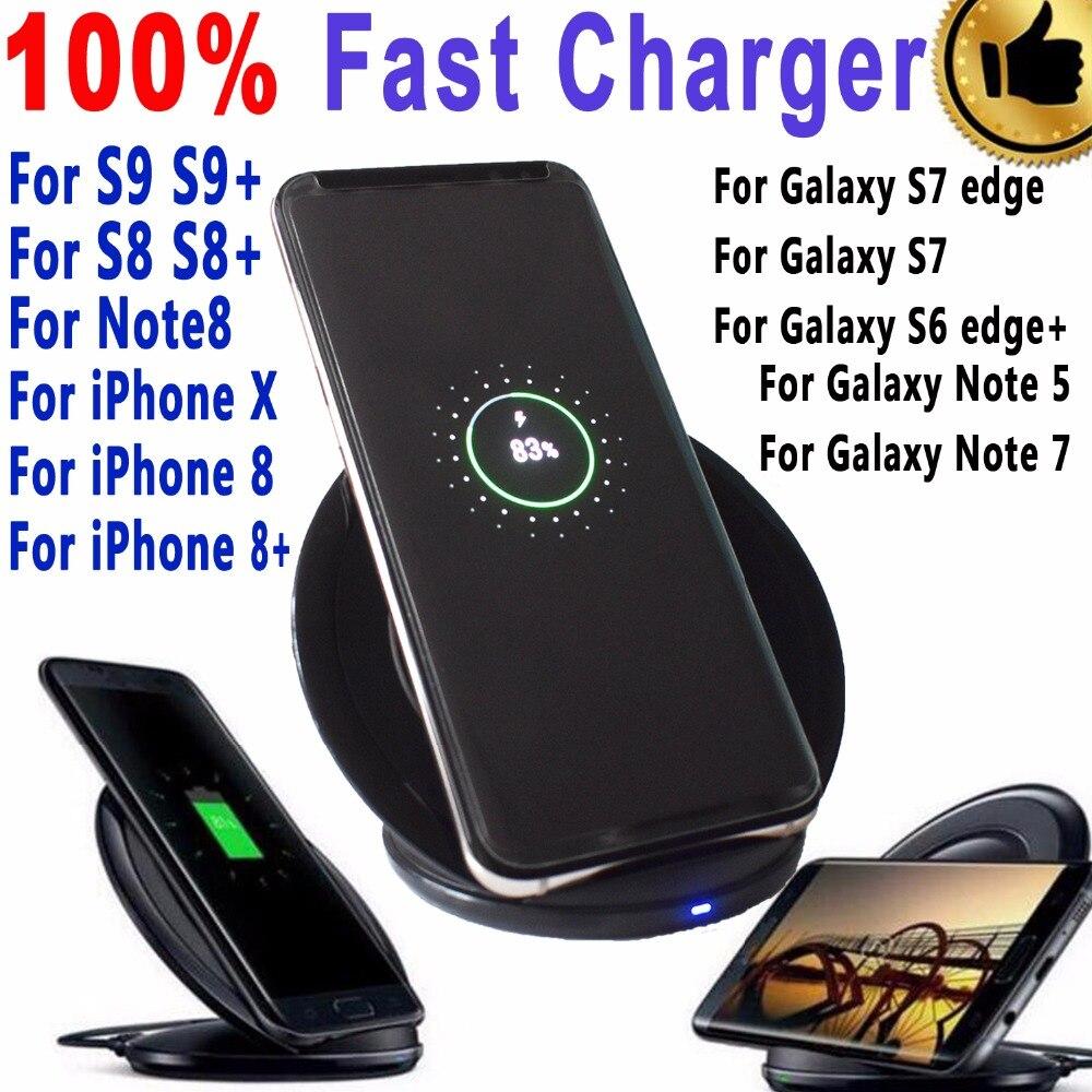 D'origine eAmpang 10 W Qi Réel Rapide Sans Fil Chargeur pour Samsung Galaxy S6 S7 bord S8 S9 Plus Note 8 7 5 pour Apple iPhone X 8 Plus