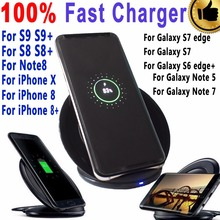 eAmpang 10W Vertical Qi Fast Wireless Charger for Samsung Galaxy S6 S7 edge S8 S8 Plus Note 8 7 5 for Apple iPhone X 8 8 Plus