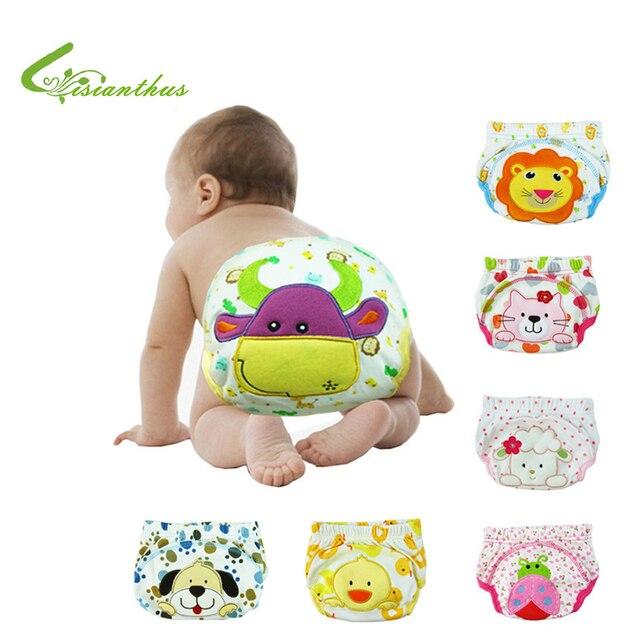 3 unids/lote algodón del bebé pañales de tela reutilizables lavable ...