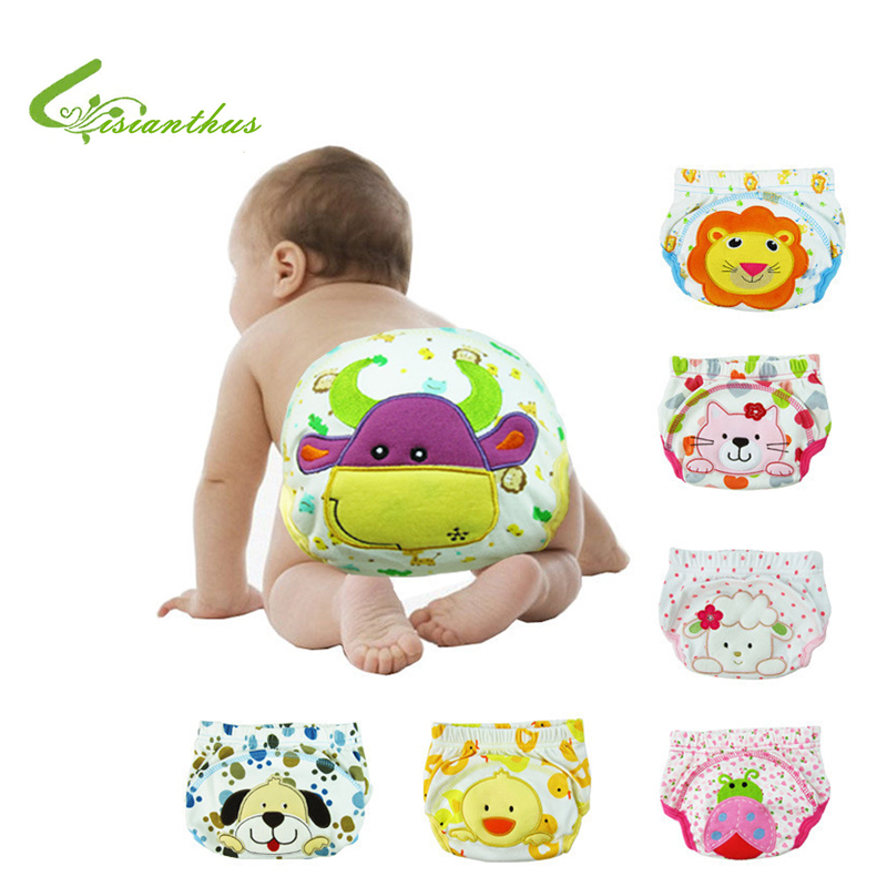3pcs/ lot Baby Cotton Diapers Infant Reusable Cloth Nappies Washable Baby Boy Girl Shorts Cute Cartoon Pattern Training Pants