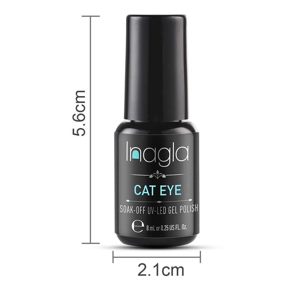 Inagla 8 ml olho de gato uv unha gel polonês linha de ouro magnético verniz verniz verniz polonês gel 3d semi permanente ouro olho de gato unha polonês
