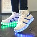 Nuevos niños del invierno verano luminoso iluminado led usb shoes moda zapatillas de deporte para niños zapatillas niños niñas casuales pisos botas