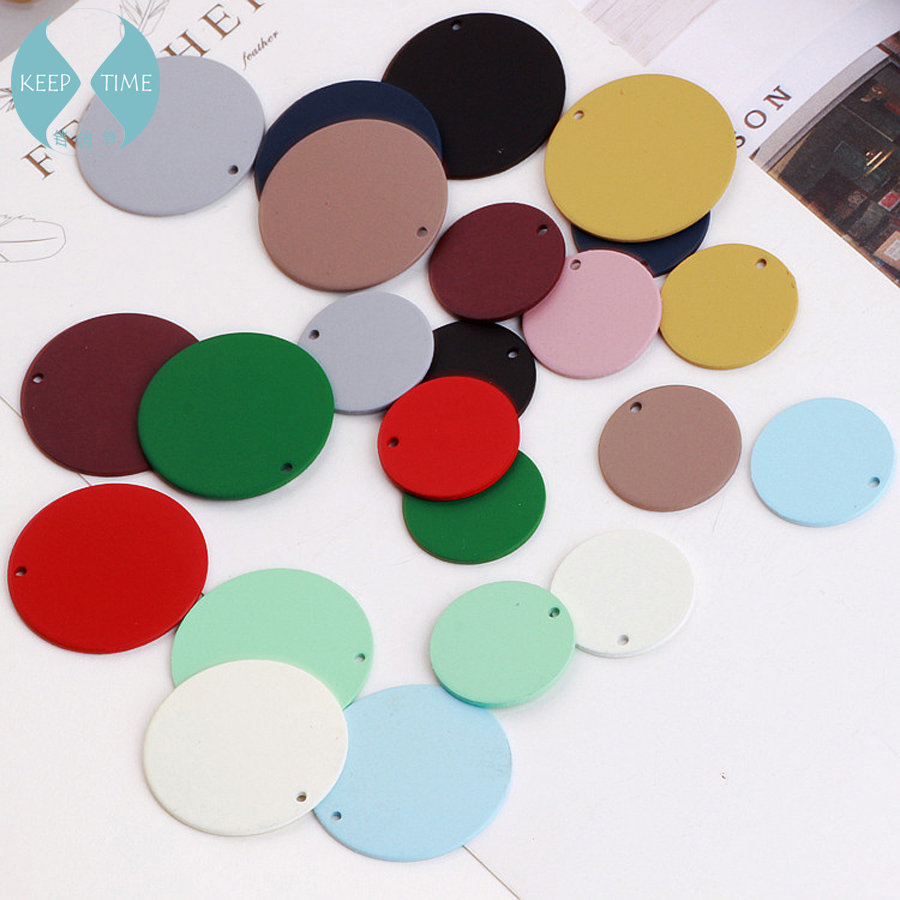 DIY Earrings Material Spray Matte Scrub Color Rubber Paint Large Round Pendant Ring Earrings Pendant