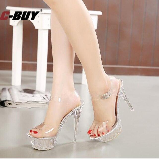 e62df5c3083 Women Shoes Women High Heel Sandals Sexy Crystal Transparent Fish Head High  Platform 14 Cm Shoes Large Size 35-43 Z10 101