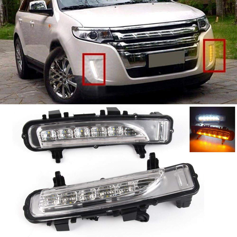 Front Bumper Daytime Running Light LED DRL White/Yellow Turn Signal for Ford Edge 2011 2012 2013 2014 цена