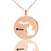 AILIN Rose Gold Color DIY State Charm Necklaces Personalized Michigan State Shaped Necklace Custom USA Map Necklaces