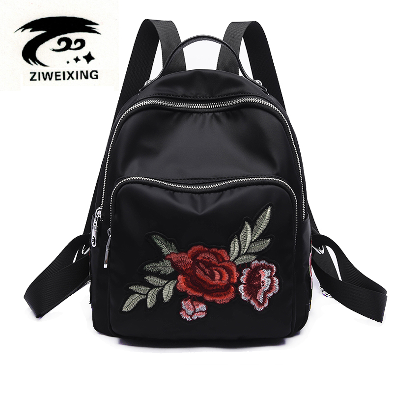 Embroidery Peony Flower Women Backpack 2017 School Bags For Girls Brand Animal Shoulder Bag Casual Oxford Black Ladies Backpacks 2017 fashion women waterproof oxford backpack brand new ladies black backpacks for teenage girls school student shoulder bags