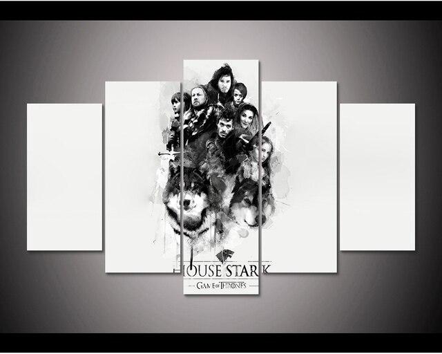 Enmarcado HD impresión 5 unids Juego de tronos casa Stark arte de la ...