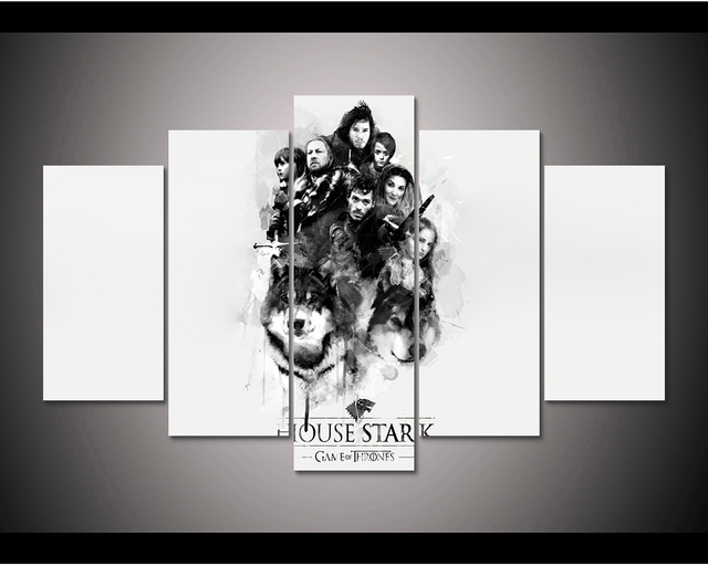 Framed HD Print 5pcs Game of Thrones house stark canvas wall art ...