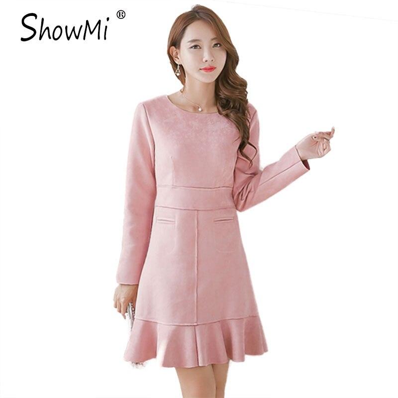 showmi ladies ruffle suede dress casual cute korean