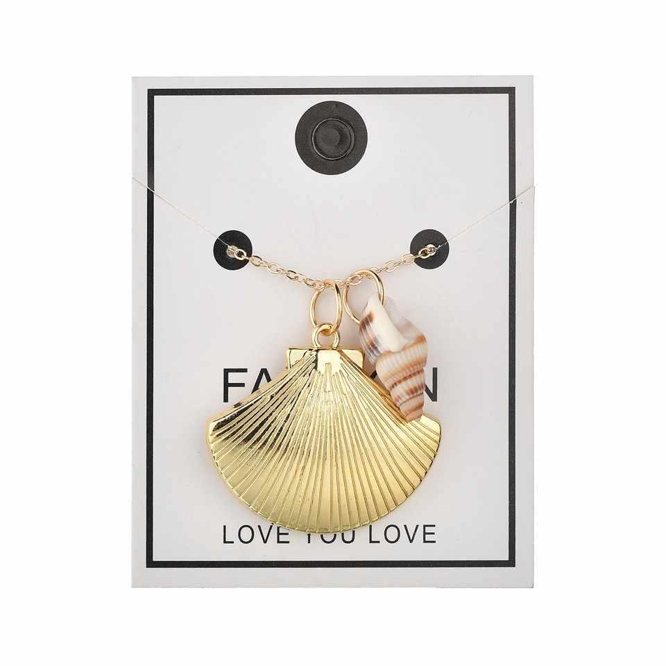 Vintage New Sea Shell Pearl Pendant Colar de Estrelas Do Mar Natural Pedra da Cor do Ouro Oco Tassel Colar Para Mulheres Meninas Jóias