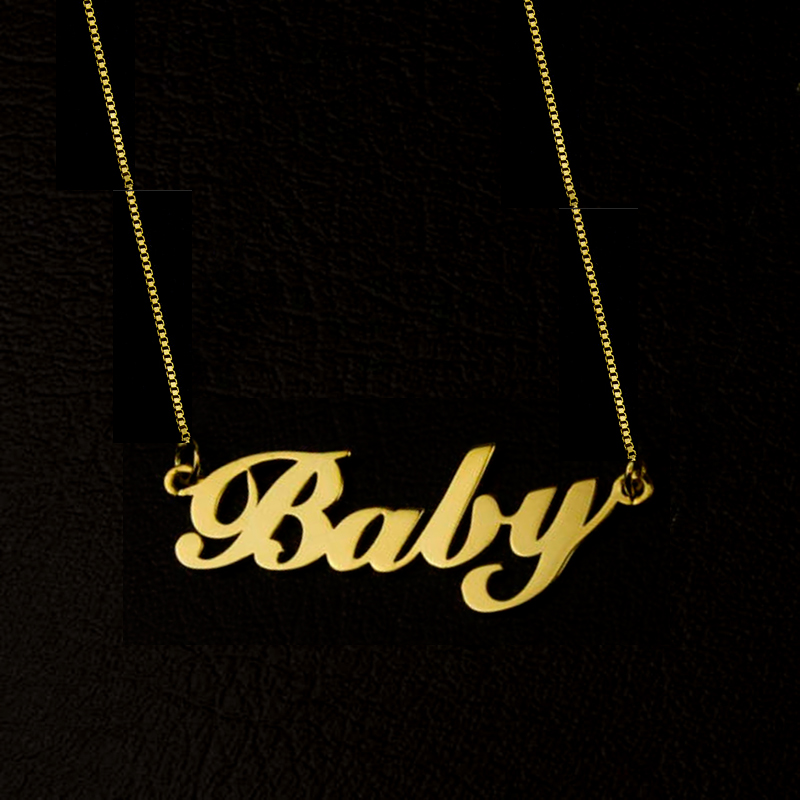 Personalized Jewelry Stainless Steel Box Chain Custom Cursive Name Charm Letter Necklace Handmade Nameplate Pendant Choker Gift atoztide customized fashion stainless steel name necklace personalized letter gold choker necklace pendant nameplate gift