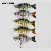 YINGTOUMAN Plastic 5 Colors /Set Durable 5cm Long 1.5m 2m Depth Fishing Lure Artificial Bait With Stainless Steel Sharp Hooks