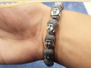 Image 4 - 100% 999 plata Sakyamuni estatua de Buda cuentas pulsera tibetana Cabeza de Buda pulsera de cuentas pulsera de muñeca Mala
