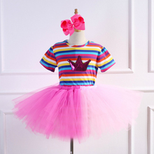 Baby Girls Clothes Rainbow Stripe Short Sleeve T-Shirts Tutu Skirt Bowknot Children Show Dance  2 Piece Set Girl